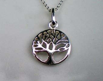 Sterling Silver Filigree Tree of Life Necklace with Sterling Silver 16 inch Chain