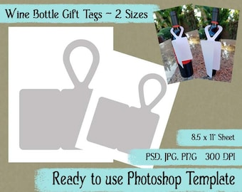 "Digital Template: ""Wine Bottle Gift Tag"" DIY Wine Bottle Gift Tag Photoshop Template Gift Card Crafting Supplies"