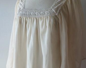 1970s cream peasant blouse + Vintage crochet boho top