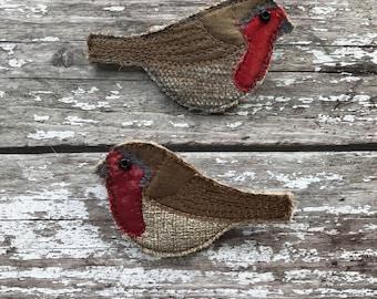 Fabric Robin brooch