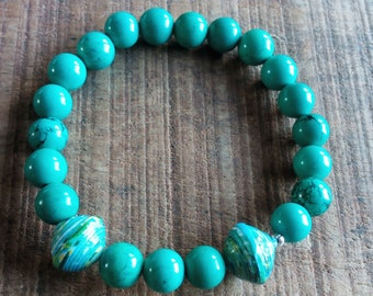 1398 - Tibetan green turquoise beaded bracelet, and handcrafted paper beads