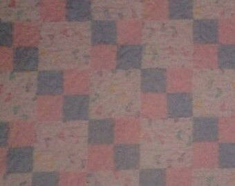 Pastel Baby Steps Flannel Baby Quilt - Baby Crib Blanket - Toddler Lap Blanket