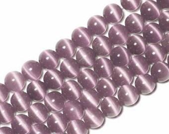 10 x beads 10mm purple cat's eye