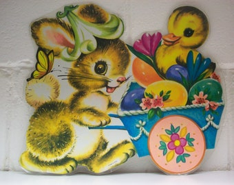 4 VINTAGE EASTER Die-cut Bunny Rabbit Egg Cart Duck Butterfly Springtime Flowers Wall Window Classroom Party