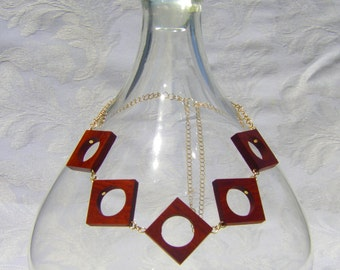 Open Square Padauk Wood Necklace