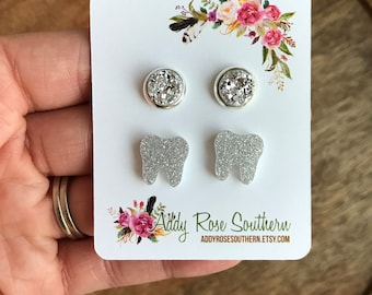 Silver glitter tooth and small Druzy earrings , tooth earrings, teeth earrings, teeth jewelry, dentist, dental earrings, dental hygienists