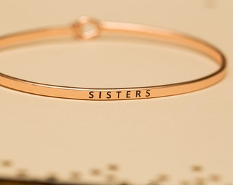 "Bangle Bracelet, ""Sisters"", gift gold silver rose gold, stackable bangle"