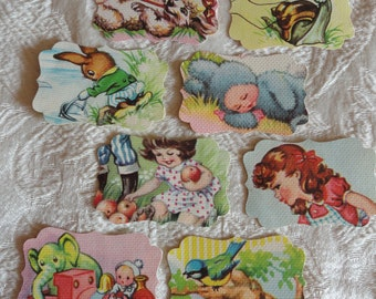 Vintage children's booklets 8 colorful genuine book-fragment labels! Drawings literary cards scrapbooking bookmark DIY