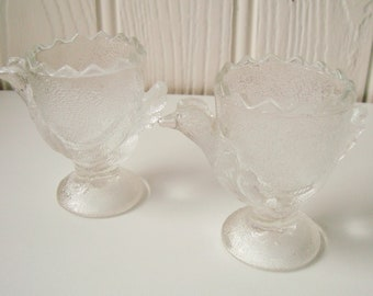 Pair of vintage clear glass chicken egg cups