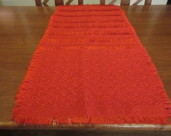 Vintage Bright Red Burlap Christmas Placemats - 8