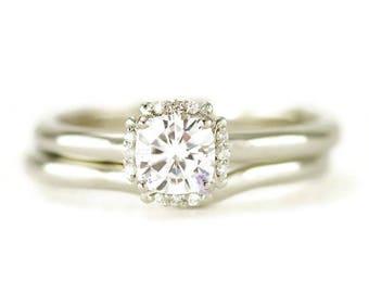 White Gold Moissanite Halo Bridal Set - Shadow Wedding Band - Wedding Ring Set