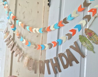 Happy Birthday Banner. Birthday Party Supplies.  Boho Chic Birthday Sign with feathers and arrows