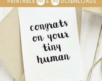 printable baby card, funny baby card, printable baby card, funny printable baby card, tiny human card, funny baby congrats card