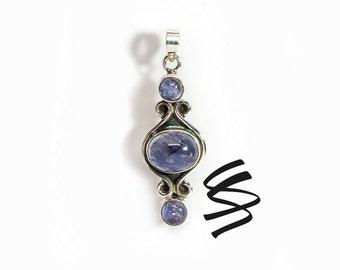 Iolite Pendant Iolite Necklace Iolite Jewelry Blue Gemstone Deep Blue Stone Jewelry Vintage Blue Jewelry Antique Pendant Something Blue Gift