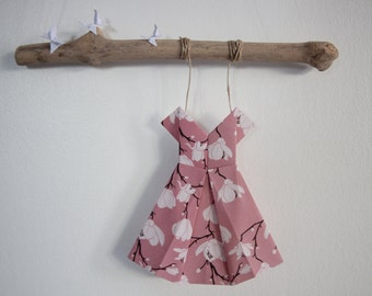Driftwood mobile origami dress birth anniversary girl baby shower pink white decoration ornament gift butterflies handmade celebrations
