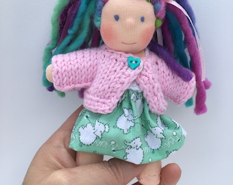 Five inches Waldorf doll, made of natural materials