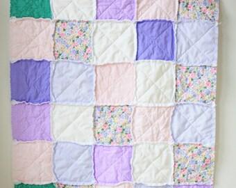 Lavender floral rag quilt - Floral rag quilt - Pink floral rag quilt - Baby rag quilt - Crib rag quilt