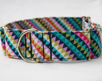 Rainbow Banner Stripe Martingale Dog Collar-Pet Collar-Pet Accessories- Supplies- Large Breed Dogs