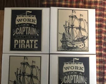 Set of 4 Coasters- Pirate