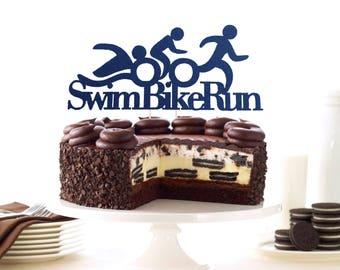 Triathlon Cake Topper, Athlete Cake Topper, Triathlon Decoration, Triathlon Swim Bike Run Topper, Winner Topper, Ironman Cake Topper, Runner