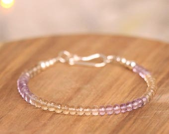 Ametrine Sterling Silver Bracelet - Gemstone Bracelet, Crystal Bracelet, Delicate Bracelet, Ametrine Bracelet
