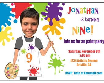 Art Party Birthday Invitation, Paint Party Birthday Invitaiton, Custom Invitations, Custom Photo Invitation, Cartoon Birthday Invitation