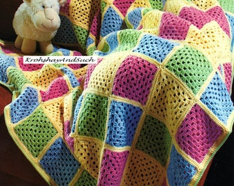 Granny Square Blanket, Crochet Pattern. PDF Instant Download.