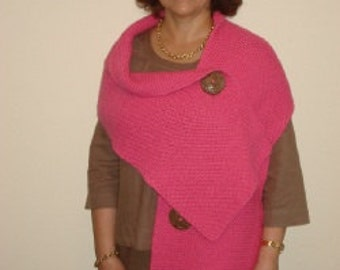 Breast Cancer Pink Ribbon 3 button shawl in Egyptian cotton.
