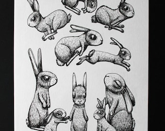THE 10 rabbits Illustration graphic original India ink on paper 200 g/m2 KriSoft
