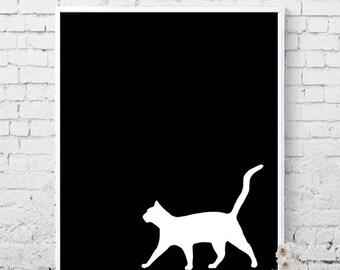 Cat prints, Printable art, Black and white, Cat poster, Nursery art, Printable wall art, Animal prints, Digital prints, Instant download