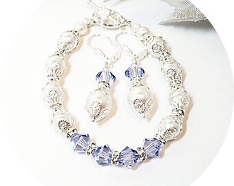 Bracelet, Earrings, Purple, Lavender, Bridesmaid Jewelry, Bridesmaid Gift, Bridal Accessories, Bridal Jewelry, Lavender Wedding, Jewelry