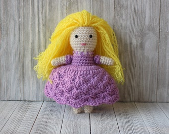 New Handmade Crochet Little Amigurumi Blond Princess / Goldilocks /Girl Doll with Orchid color dress - Ready to ship