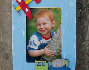 AIRPLANE Kids Wood Picture Frame - Original Hand Painted - Vertical/Horizontal