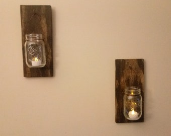 Wire wrapped mason jar hanging candle holder Set of 2