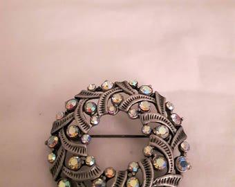 Vintage Brooch Silver Tone - Aurora Borealis AB Rhinestones Brooch - Wreath/Round Brooch - 1960s - Wedding/Birthday/Anniversary