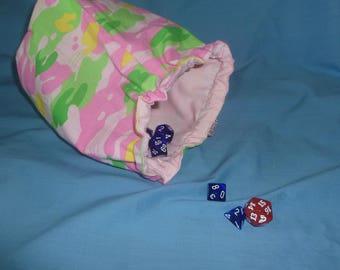 Dice Bag, pink camouflage dice bag, MTG, Magic the Gathering, dice holder