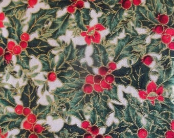 Holly and Berries Christmas Print Fabric