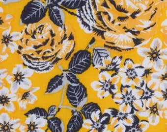 Lemon Chrome Floral Cotton Fabric by the yard and by the half yard