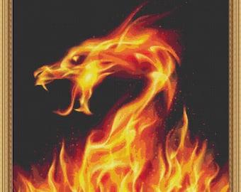 Cross Stitch Pattern Fiery Dragon Fractal Instant Download PdF Stunning Digital Art Fractal Design