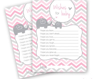 Printable Baby Shower Wishes for Baby elephant grey and pink chevron
