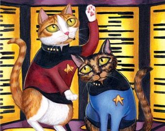 "Star Trek Beam Me Up Cats - 8 x 10"" art print - kitties dressed up as TNG starfleet on the transporter"