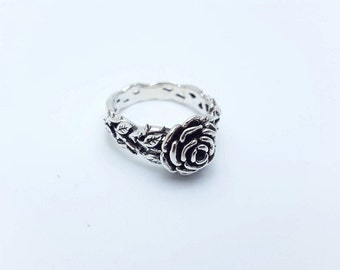 Silver Rose Ring,Delicate Rose Promise Ring,925 Sterling Silver,Black