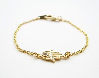 Gold Hamsa Bracelet with Crystal and 14K GF Chain ~ Gold Lucky Charm Bracelet ~ Hamsa Jewelry ~ Evil Eye - Also Available in Silver