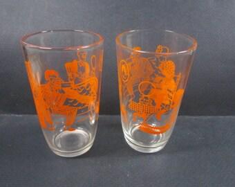 Juice glasses 1950s vintage home decor