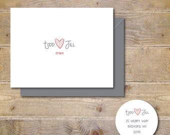 Wedding Thank You Cards . Personalized Wedding Cards . Bridal Shower Thank You Cards -  Love