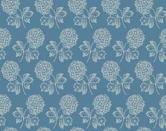 Blue and cream hydrangea floral pattern fabric