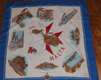 Vintage Souvenir Scarf, Malta, Gozo, Large Square