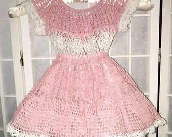 Pink Summer Dress, Pink Dress, Pink Baby Dress, White and Pink Baby Dress, Crocheted Baby Dress, Pink Baby Dress, Baby Dress, Party Dress