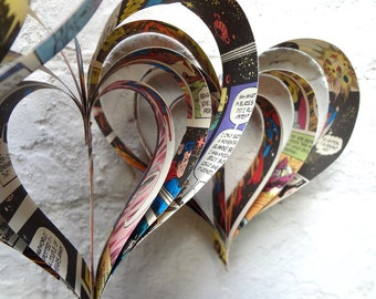 Comic Book Christmas Decorations, Paper Hearts, Geek Christmas