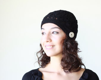 Black beanie hat, Black winter hat, Women Black hat, Women black beanie, Women crochet hat, Black crochet hat women, Noir bonnet femme